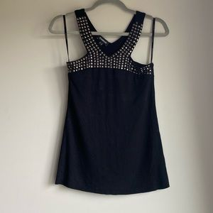 BEBE Black Tank w/ Metal Stud Neck & Chest Detail